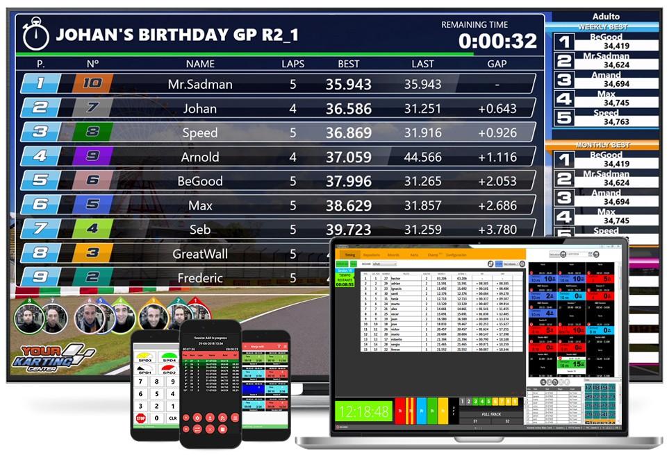 Software de cronometraje para karting de alquiler